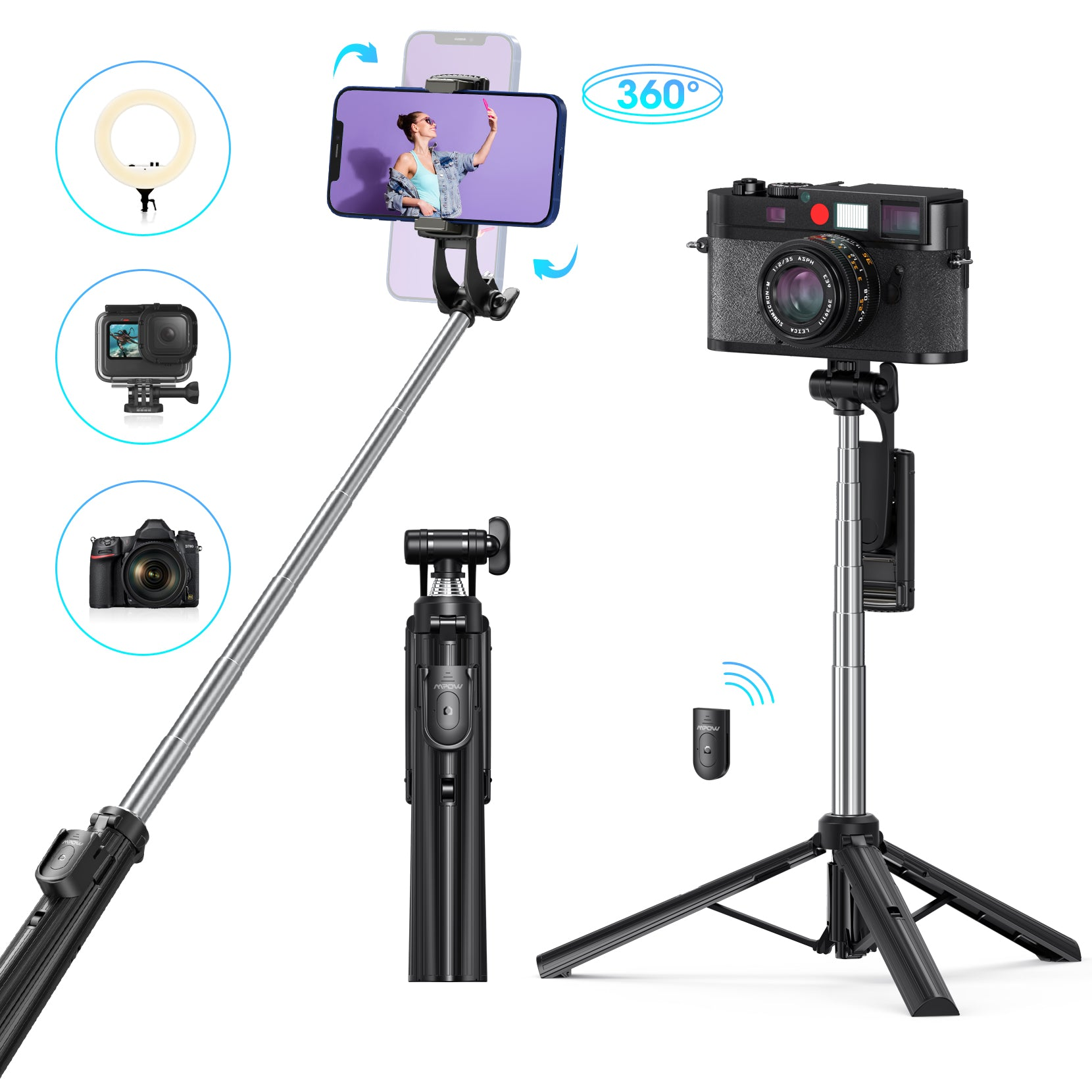 Mpow PA231A Selfie Stick Tripod Stand with Stable Design and Remote
