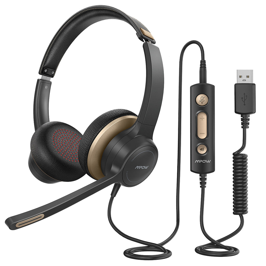 Mpow HC6 USB Headset with Microphone(Gold)