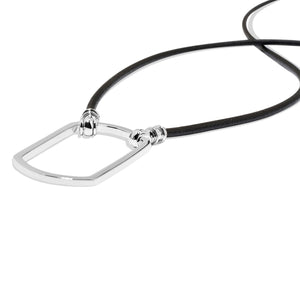 Essentials Black Leather with Silver Plated Dog Tag Loop