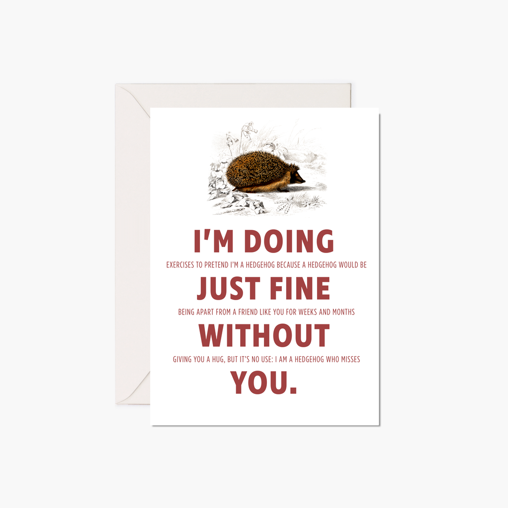 Miss You Card - European Hedgehog