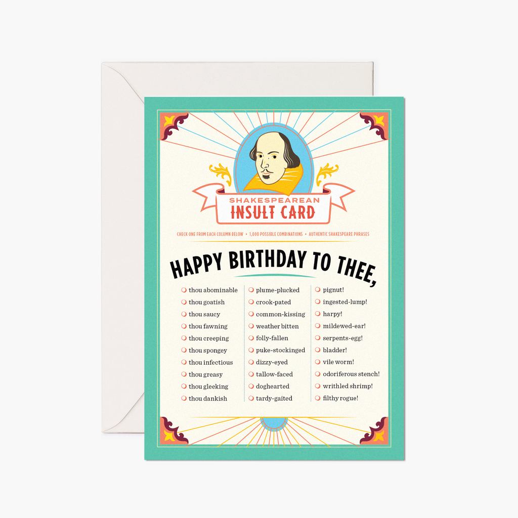 Shakespeare Insults Card: Birthday