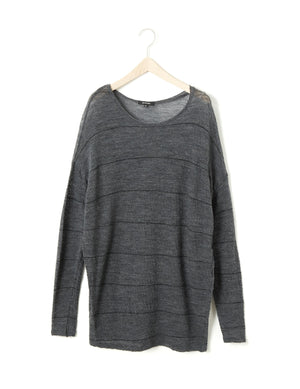 Open image in slideshow, STRIPE JACQUARD LONG PULLOVER