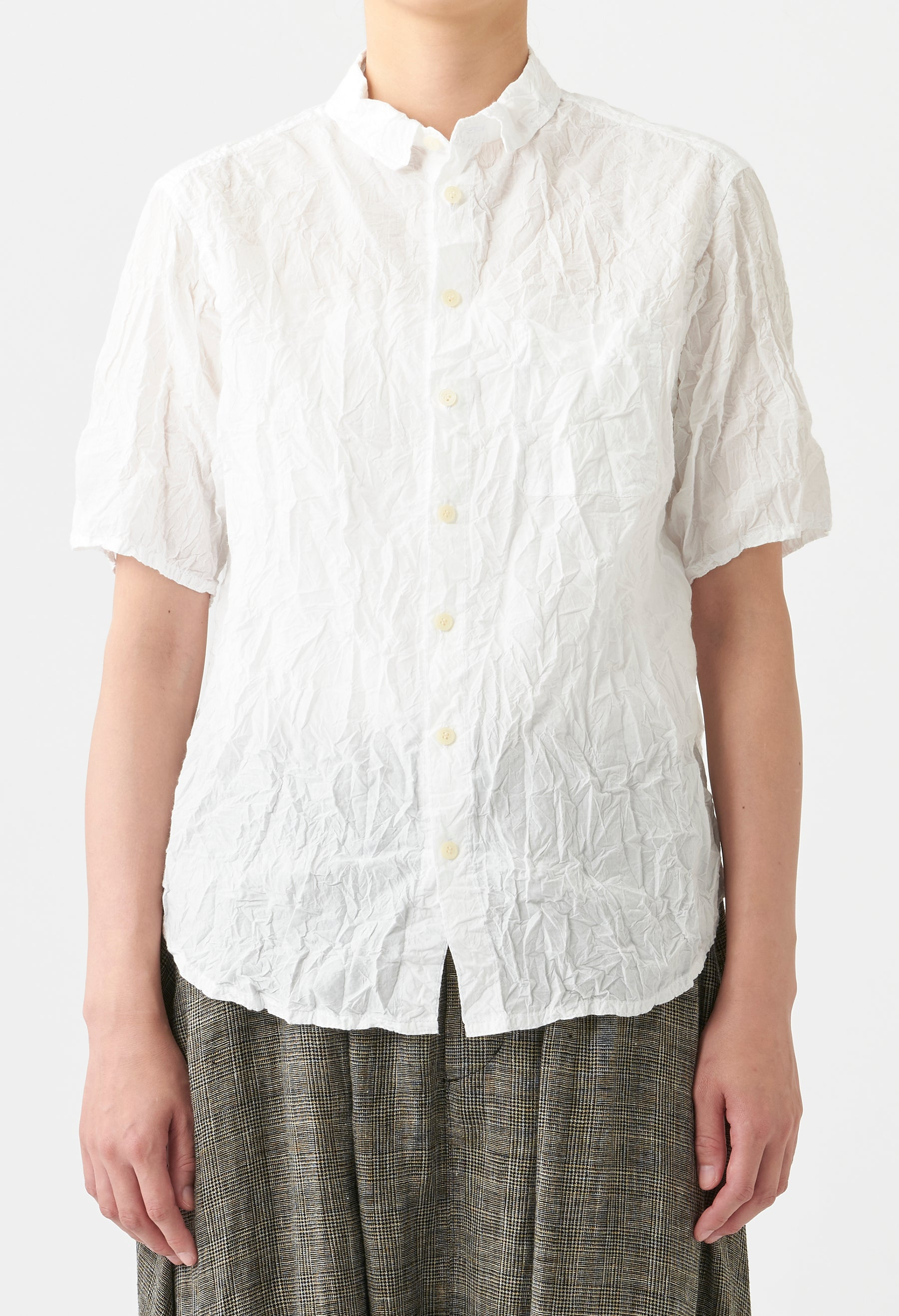 WRINKLE FINISH SHORT SLEEVE BLOUSE