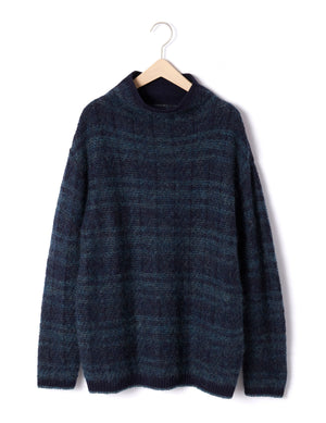 Open image in slideshow, MOHAIR CHECK JACQUARD TURTLENECK