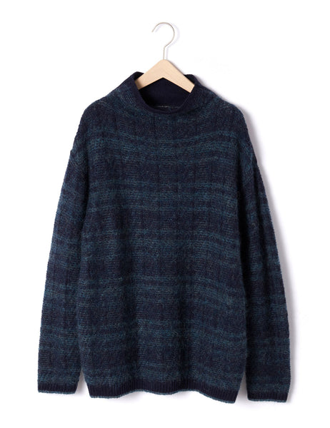 MOHAIR CHECK JACQUARD TURTLENECK