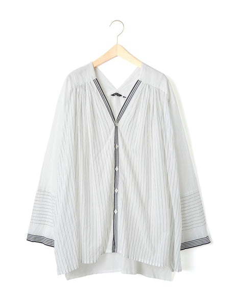 VEGETABLE DYE PINSTRIPE BLOUSE
