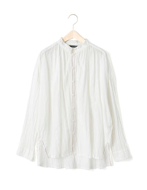 Open image in slideshow, STITCHED LINEN BLOUSE