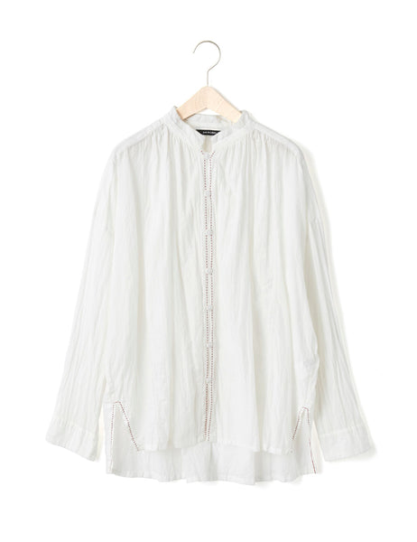 STITCHED LINEN BLOUSE