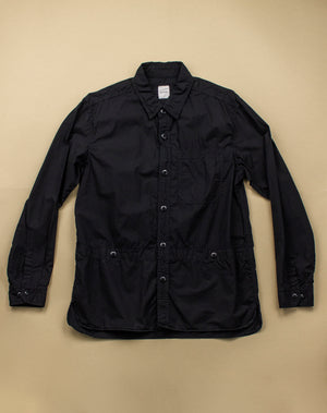 Open image in slideshow, BLACK COTTON UTILITY DRESS SHIRT