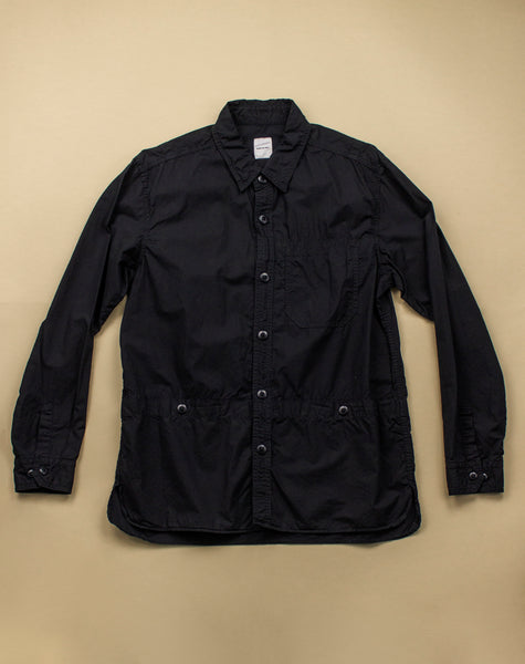 BLACK COTTON UTILITY DRESS SHIRT