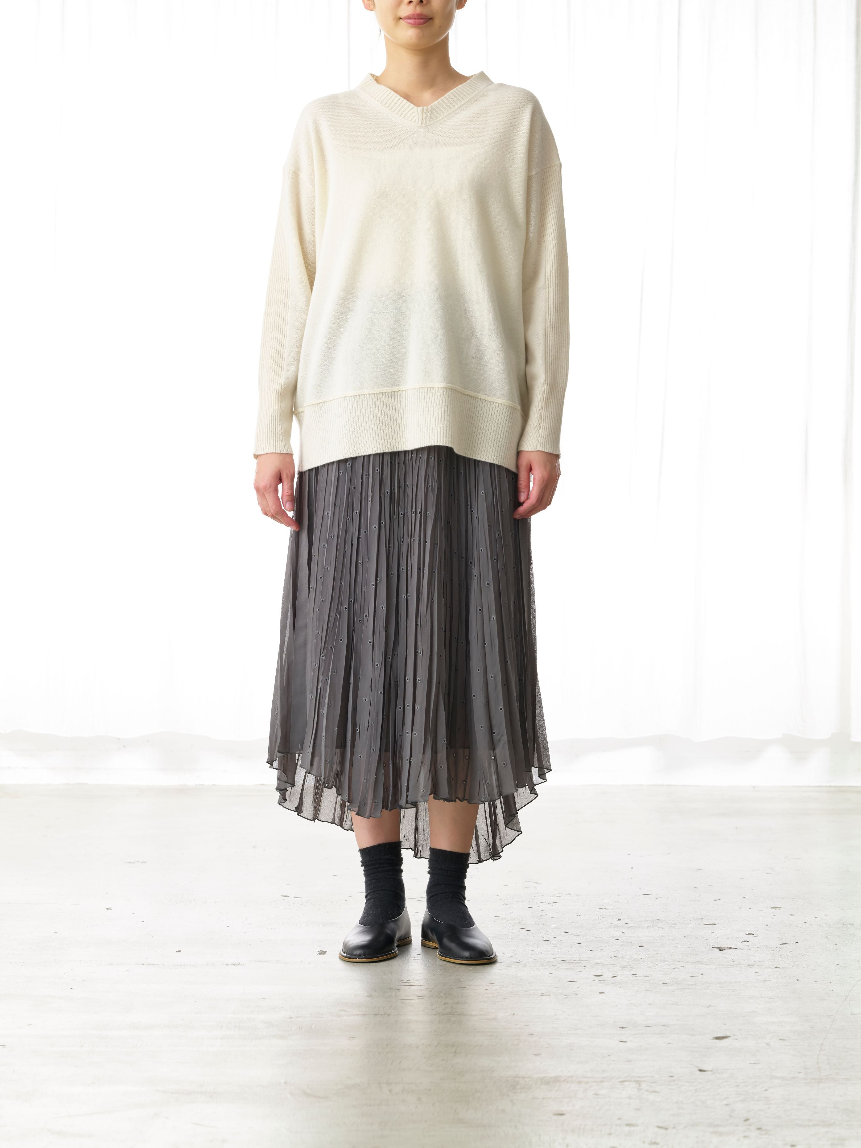 ASYMMETRIC EYELET SKIRT
