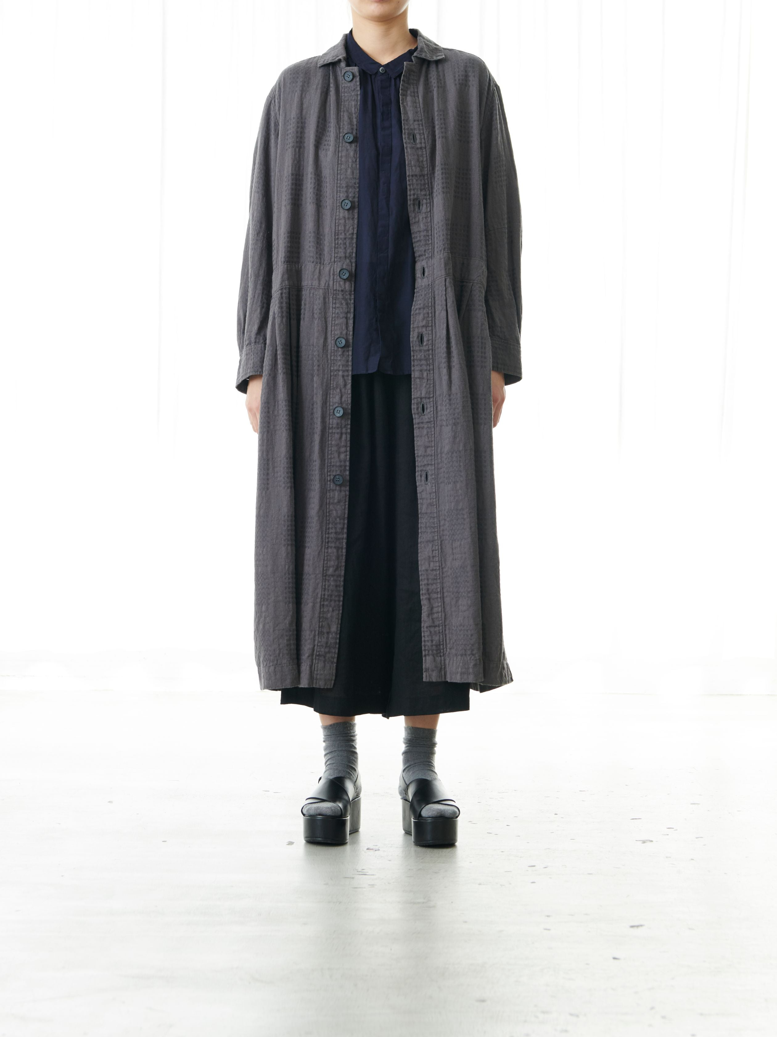 TEXTURED LINEN DRESS COAT