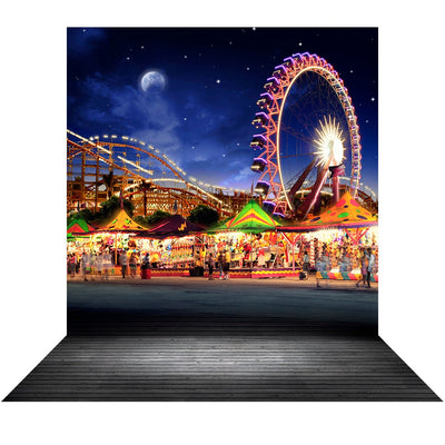 Amusement Park Backdrop, Birthday Backdrop, Boardwalk, Ferris Wheel, Roller Coaster Background, Midway, County Fair, Carnival Party Decor Photo Backdrop Alba Backgrounds 49.00 USD