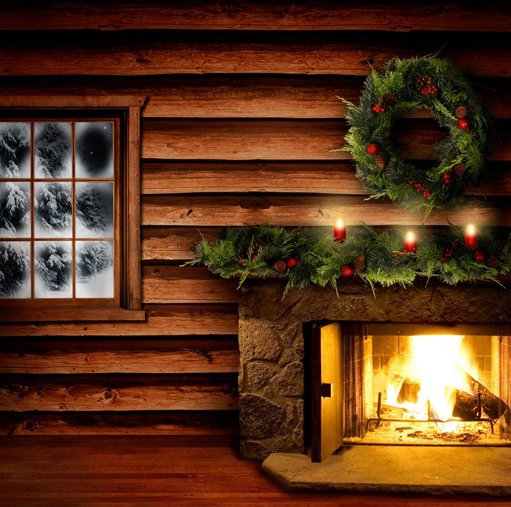 Christmas Cabin Backdrop, Fire in the Hearth Interior Backdrop with Wreath, Candles, and Garlands in a Snowy Holiday Photo Backdrop Photo Backdrop Alba Backgrounds 49.00 USD