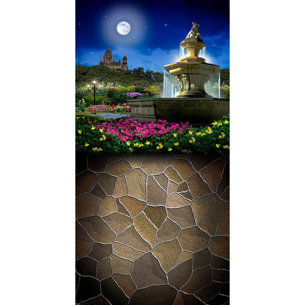 Castle Fountain Backdrop, Castle Dance, Prom, Birthday Backdrop, Romantic Full Moon, Flower Garden Backdrop Photo Backdrop Alba Backgrounds 49.00 USD
