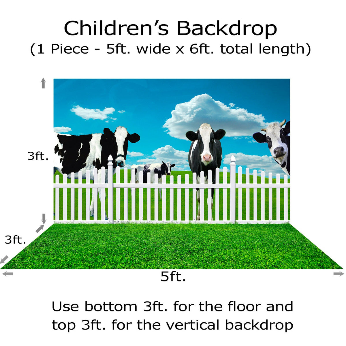 Cows and Kids Photograhy Backdrop, Outdoor, Farm, Cake Smash, Ranch, Birthday, Children's Photo Background, Preschool, Kindergarten Photo Backdrop Alba Backgrounds 49.00 USD