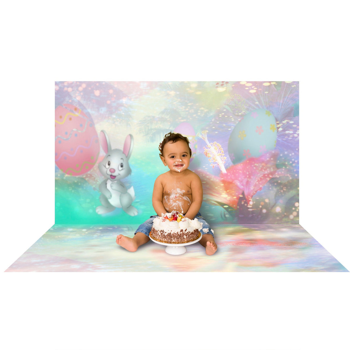 Bunny Banquet with Easter Eggs Photo Backdrop, Cake Smash, Baby Birthday, Infant Photography, Child's Easter Portrait Photo Backdrop Alba Backgrounds 49.00 USD