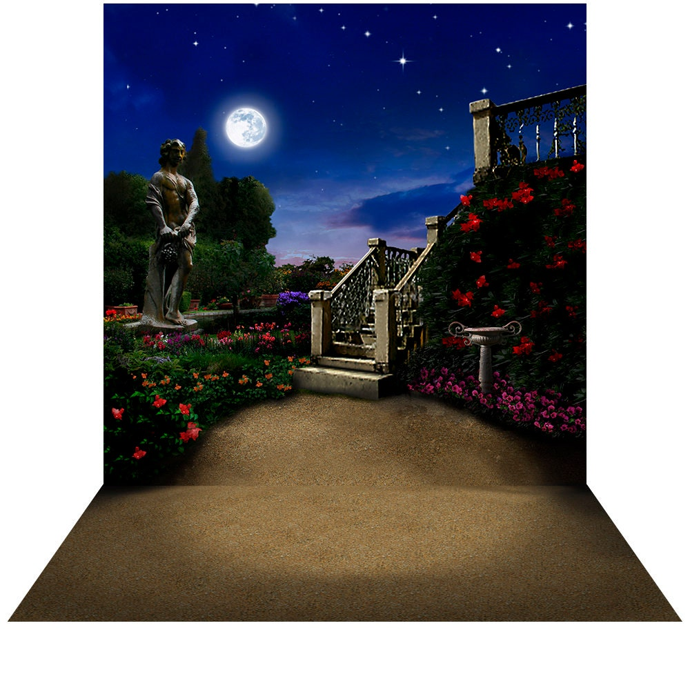 A Midsummer Nights Dream Shakespeare Terrace Backdrop, a Castle Dance, Prom, Birthday Backdrop, Romantic Full Moon, Flower Garden Backdrop Photo Backdrop Alba Backgrounds 49.00 USD