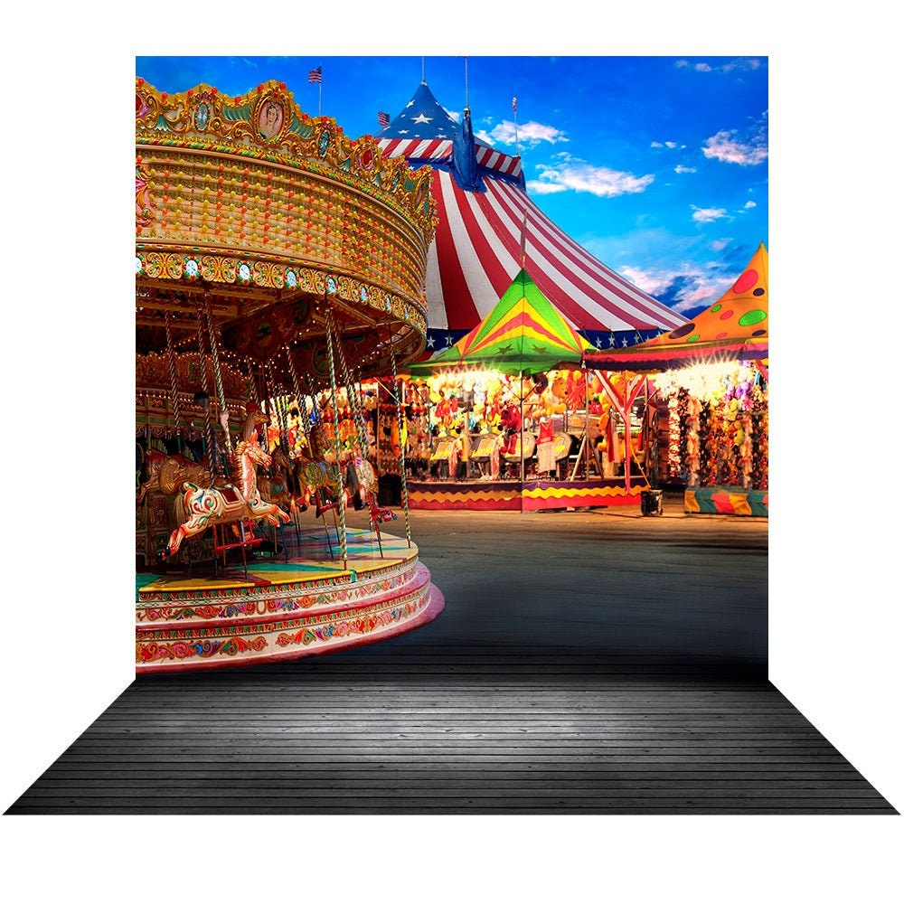 Amusement Park Midway Backdrop with a Big Top, Carousel for Carnivals, Circus, the County Fair, A Party Carousel Photo Booth Backdrop Photo Backdrop Alba Backgrounds 49.00 USD