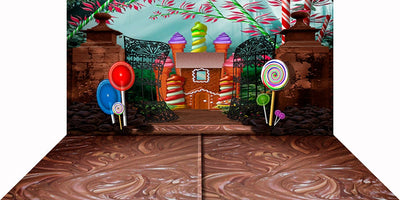Chocolate Factory, Wonka, Gingerbread House, Birthday Backdrop, Children's Backdrop, Photo Backdrop, Child Birthday Party Backdrop Photo Backdrop Alba Backgrounds 49.00 USD