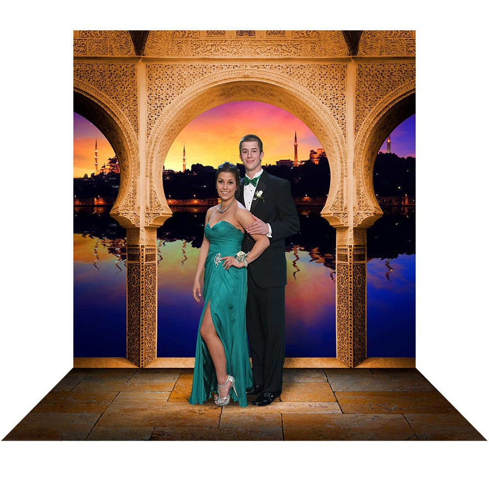 Arabian Balcony, Aladdin Backdrop with Ali Baba Mosaic Arch, Prom Queen, or Princess Party Decor, Beautiful Sunset, Jasmine Photo Backdrop Photo Backdrop Alba Backgrounds 49.00 USD
