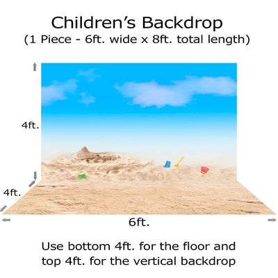 Children's Photo Beach Backdrop, Baby Birthday, Infant Photography, Party Decor, Bucket and Sand, Child's Portrait Photo Backdrop Alba Backgrounds 49.00 USD
