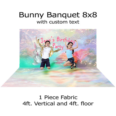 Bunny Banquet Photo Backdrop, Cake Smash, Baby Birthday, Infant Photography, Child's Easter Portrait Photo Backdrop Alba Backgrounds 49.00 USD