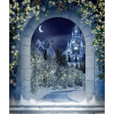 Christmas Backdrop, Winter Castle Archway, Twinkling Lights & Snow Photo Backdrop Party Decoration, Perfect Holiday Event Background Photo Backdrop Alba Backgrounds 49.00 USD