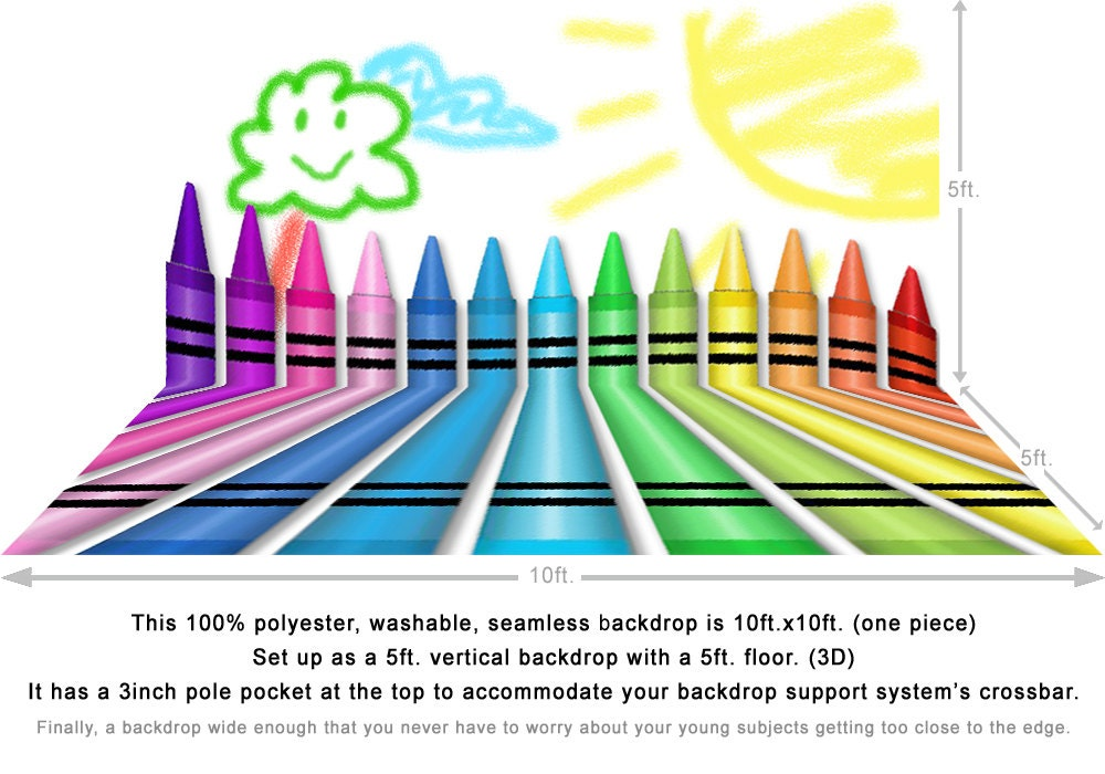 Crayons - Coloring - Smiling Sun - Happy - Art Class - School - Children's - Fun - Crayon Backdrop - Kids Pictures, Photo Backdrop Photo Backdrop Alba Backgrounds 49.00 USD