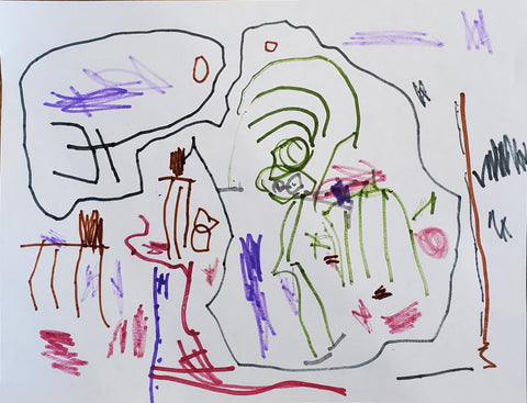 "drawing of ""Mommy working on Jewelry"" by Luca, age 4"