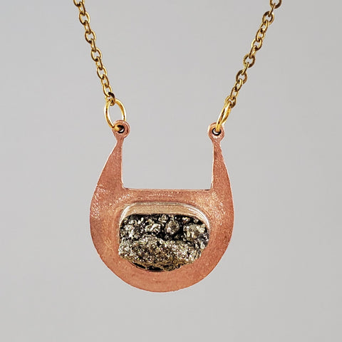 copper and crushed pyrite necklace
