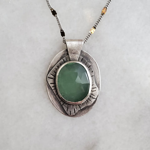 Silver pendant with faceted green stone
