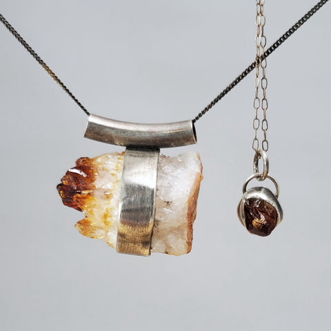 large and small citrine pendants in sterling silver made by Sayo Granich-Lee for SARUSTAR jewelry