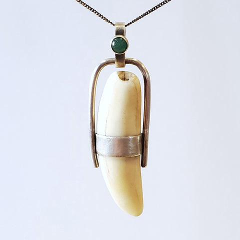 found animal tooth, aventurine, sterling silver pendant