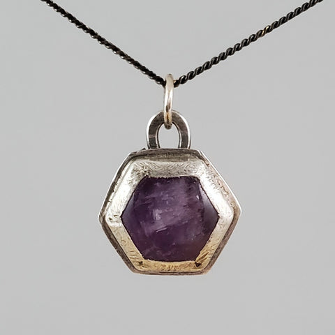 Amethyst hexagon sterling silver pendant