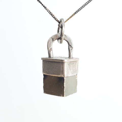 pyrite cube and sterling silver pendant