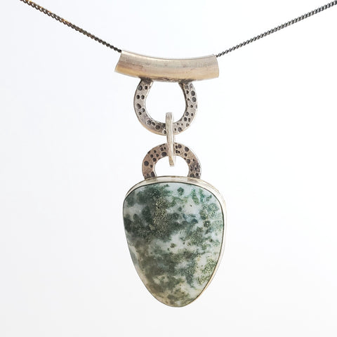 Moss agate and sterling silver pendant