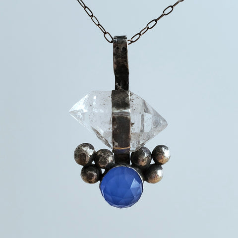 herkimer diamond pendant with blue stone