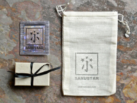 sarustar jewelry packaging- wheat colored jewelry box, gift card, custom muslin gift bag