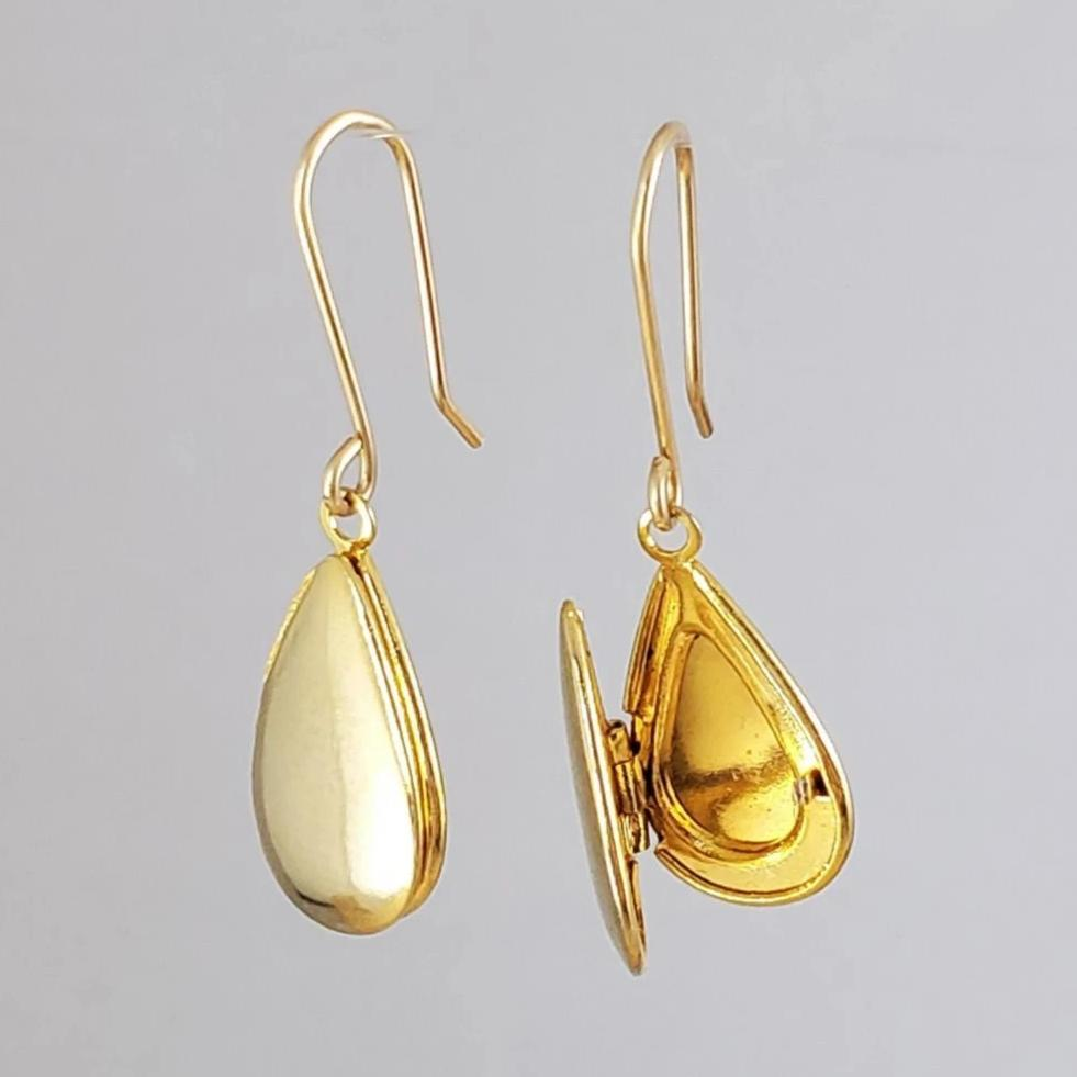 SARUSTAR gold plated teardrop locket earrings