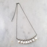 Volta- Large Pearl & Oxidized Silver Statement Necklace