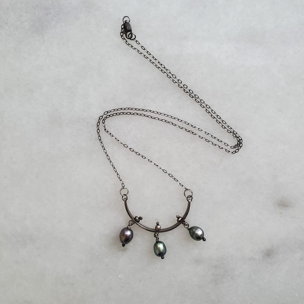 Volta- Small Pearl & Oxidized Silver Necklace