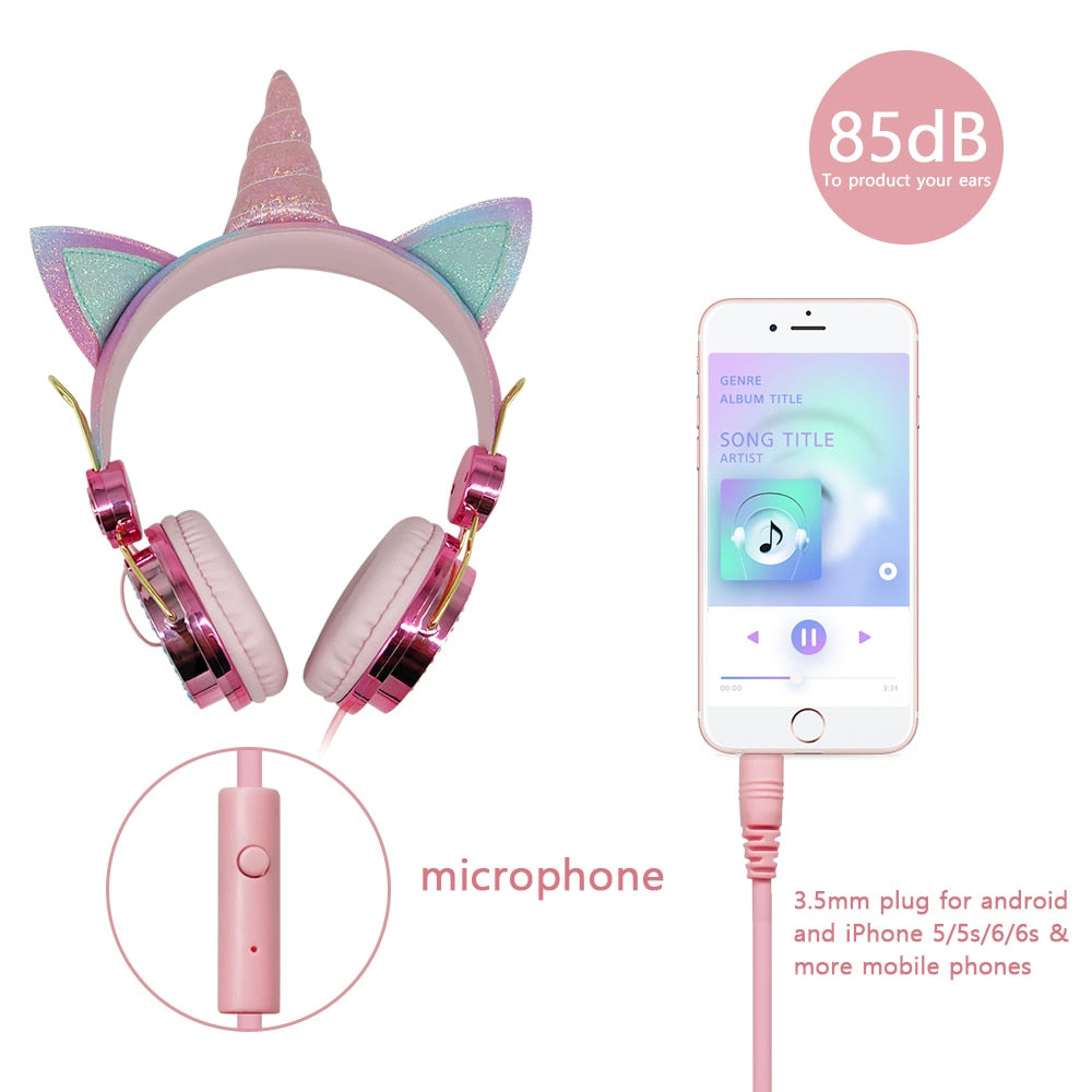 Diamond Unicorn Headphones With Mic
