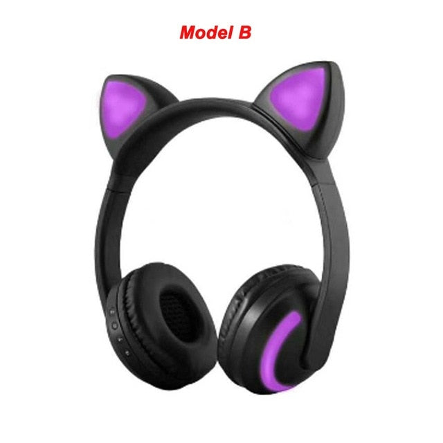 Stylish Cat Glowing Light Handsfree Wireless Headphones with mic