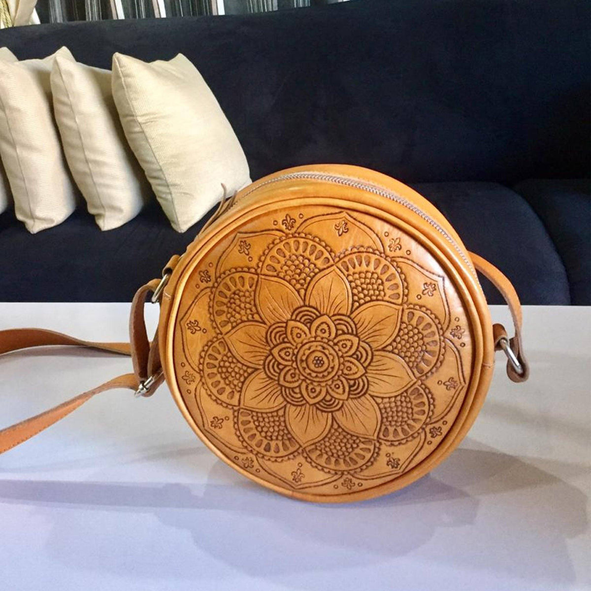 Bags - Round Tooled Leather Bag | Custom Bali Carving Crossbody Boho Bag