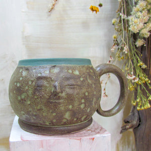 Green-Brown Moon Face Mug