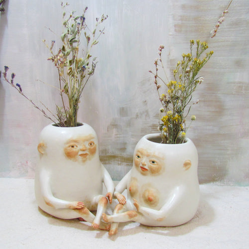 Cute Couple Vase Set