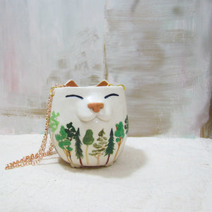 Illustrated Hanging Planter Kitty