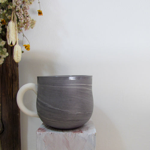 Grey Marbled Burnished Mug
