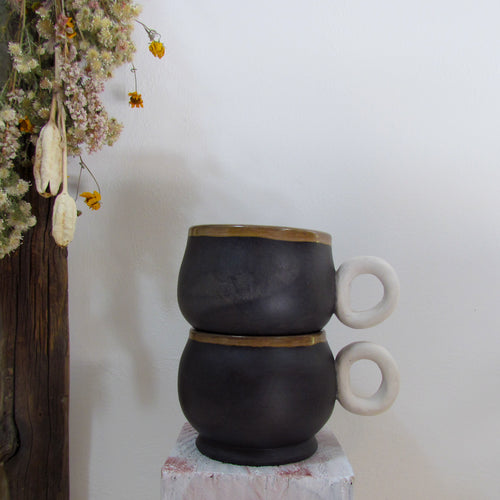 Burnished Black Mug Set